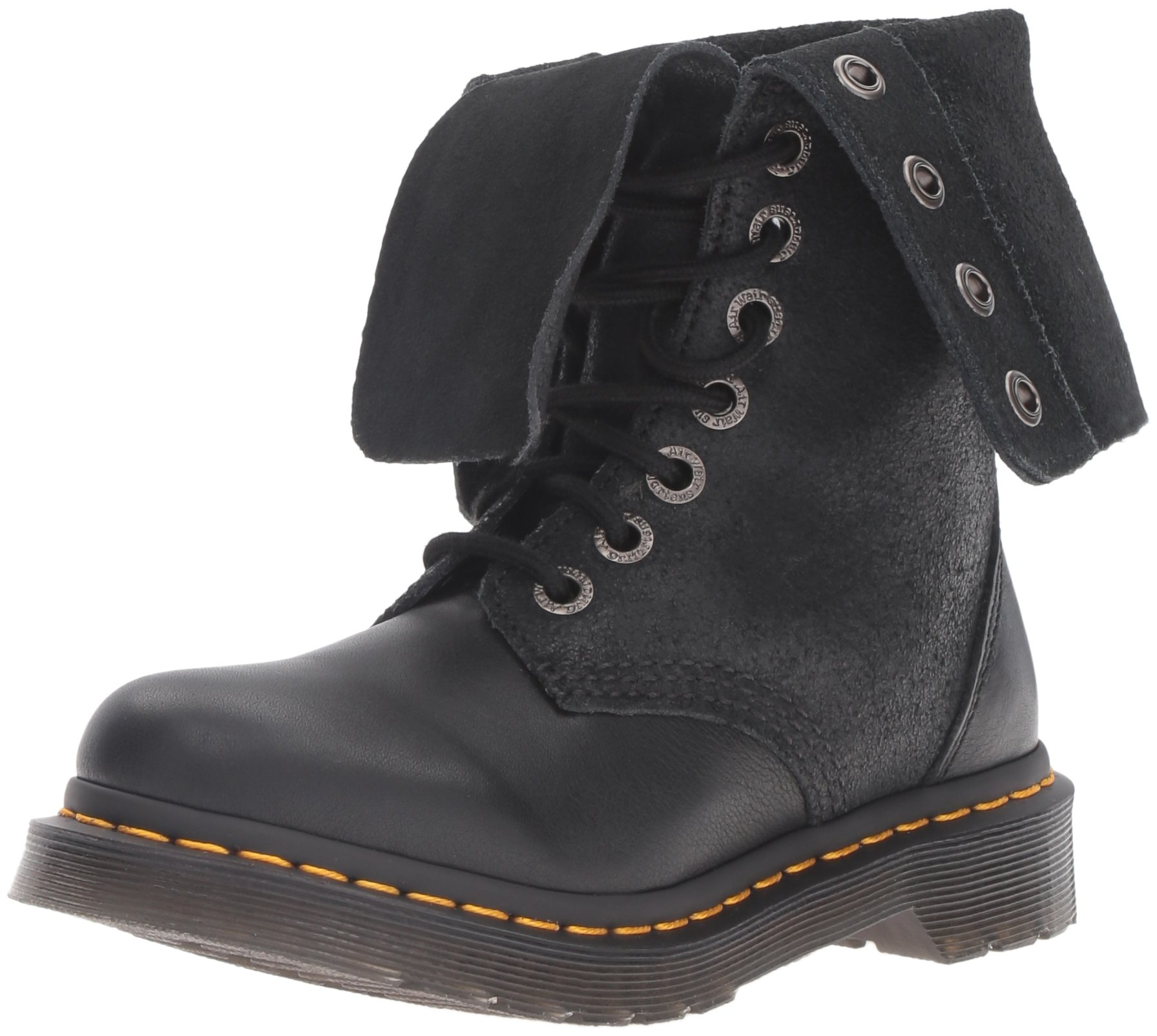 Dr. Martens Women's Hazil Boot Black Virginia Leather Boot, Black Virginia Leather, 4 Medium UK (6 US)