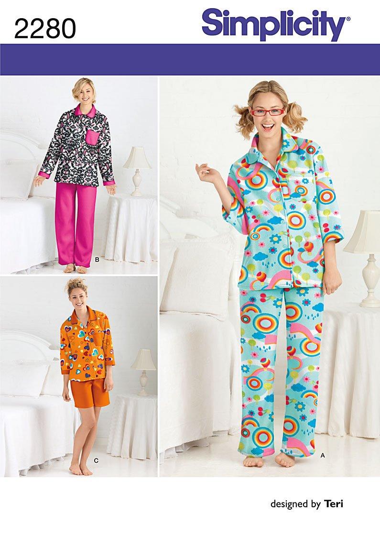 Simplicity 2280 - Patrones de costura para pijamas de mujer (tallas ...