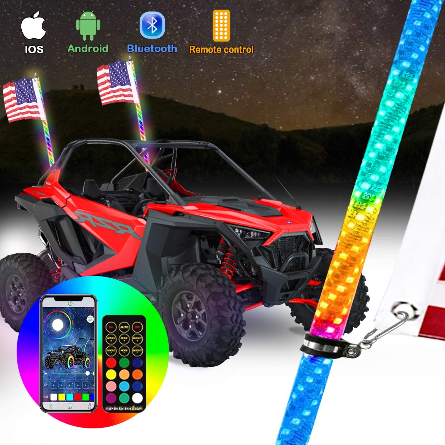 omotor 1pcs 3ft LED Whip Light with Bluetooth and Remote Control Spiral RGB Chase Light Offroad 360/°Spiraling Rising Dream Wrapped Dancing Whips