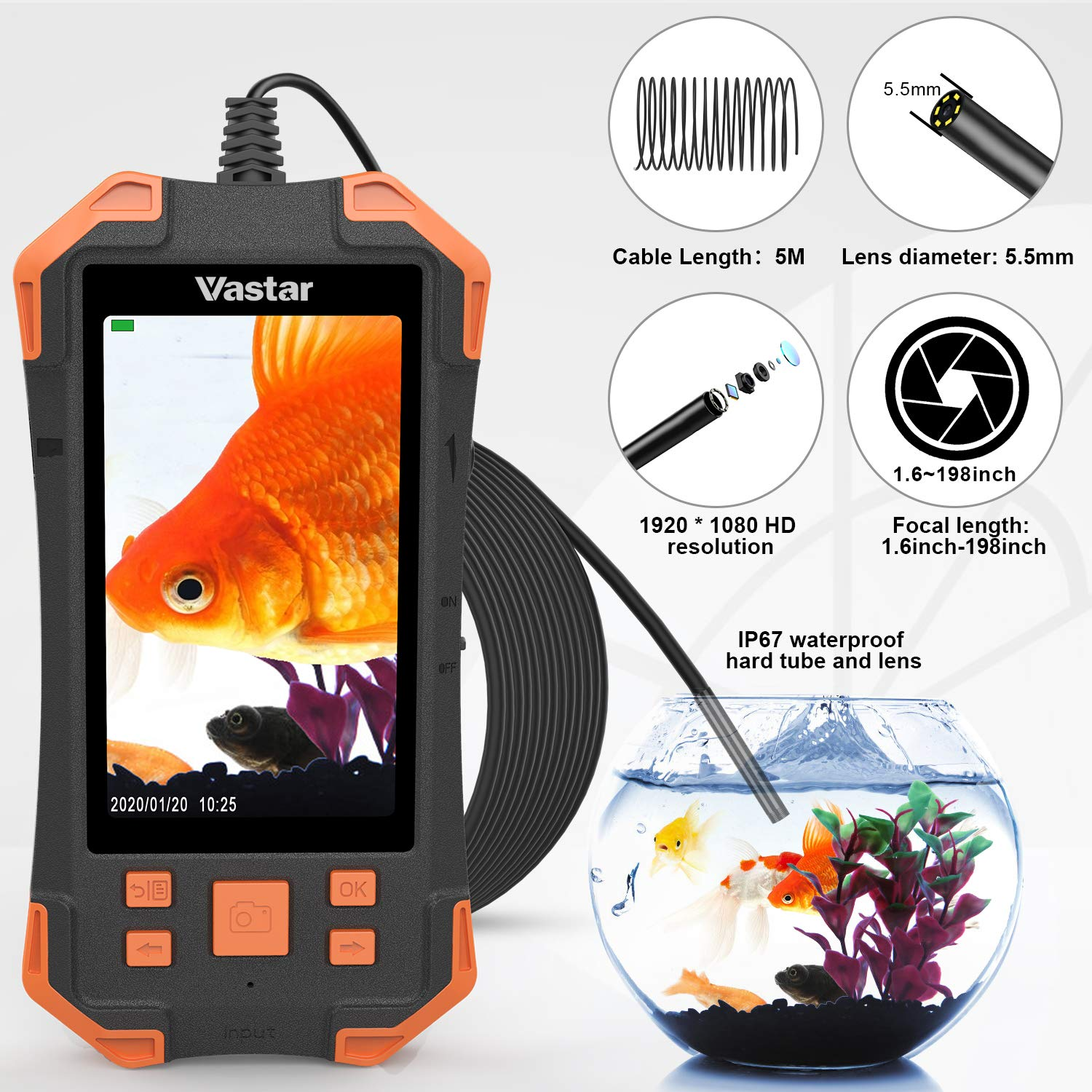 1080P HD 4.3inch LCD Screen IP67 Waterproof Borescope Vastar Inspection Camera Industrial Endoscope 3000mAh Rechargeable Battery Video Inspection Camera with 6 Adjustable LED Lights
