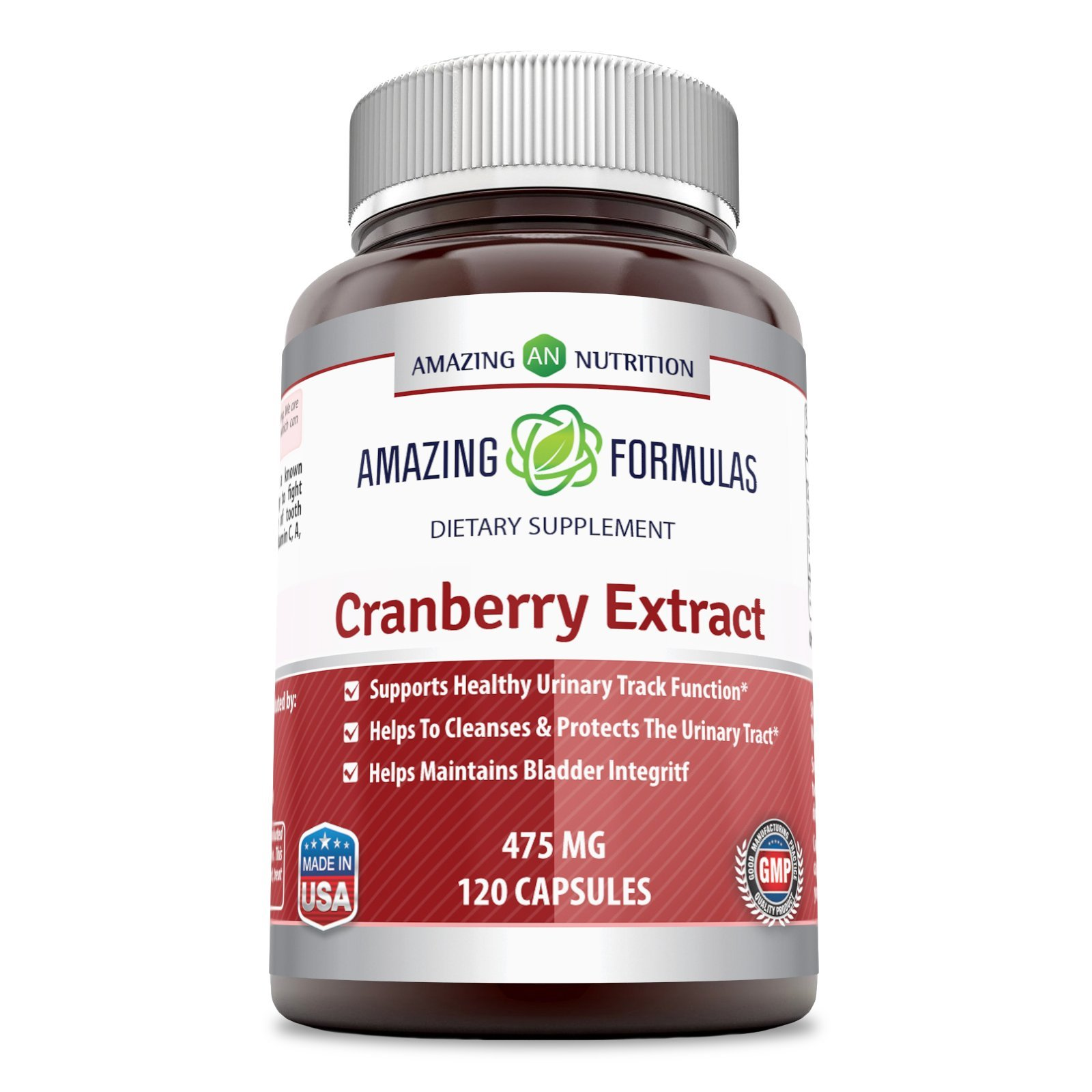 Amazing Nutrition Cranberry 100% Natural Supplement - 475 mg 120 Capsules Capsules Made From 100% Pure Cranvberroes (Vaccinium Macrocarpon)- Supports Healthy Urinary Track Function
