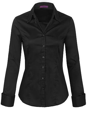 80288b70d KOGMO Womens Long Sleeve Button Down Shirts Office Work Blouse (S-3X ...