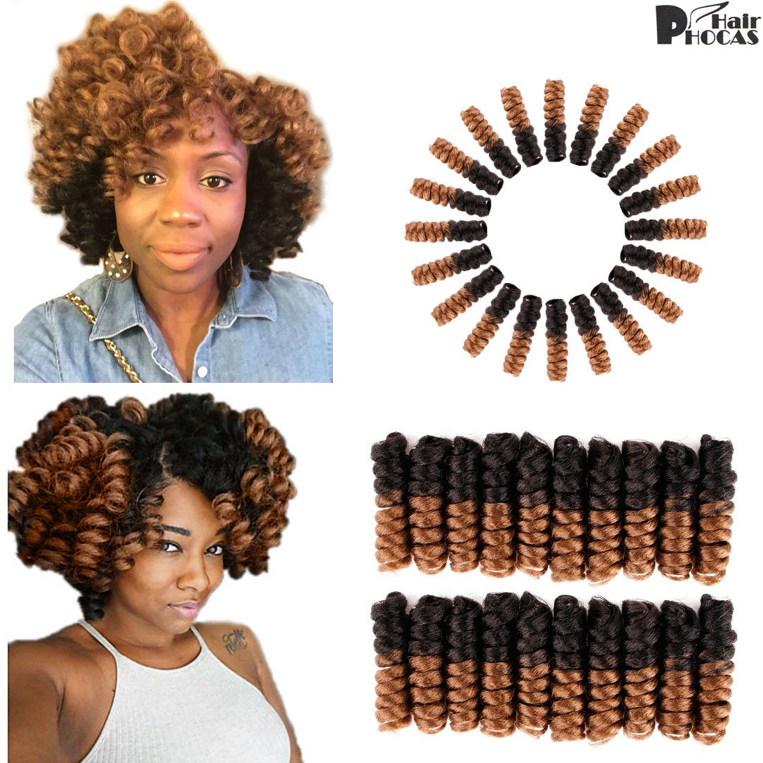 Amazon.com : HairPhocas 5 Packs Kenzie Curly African Wand Braided ...
