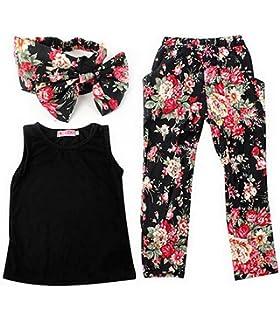 2fc874d5631 Jastore Girls Sets 3PCS Sleeveless Shirt Tops + Floral Pants + Headband  Clothes