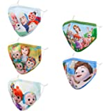 5 Pcs Kids Adjustable Reusable 3D Face Mask with Nose Wire. Gifts for Girls Boys.