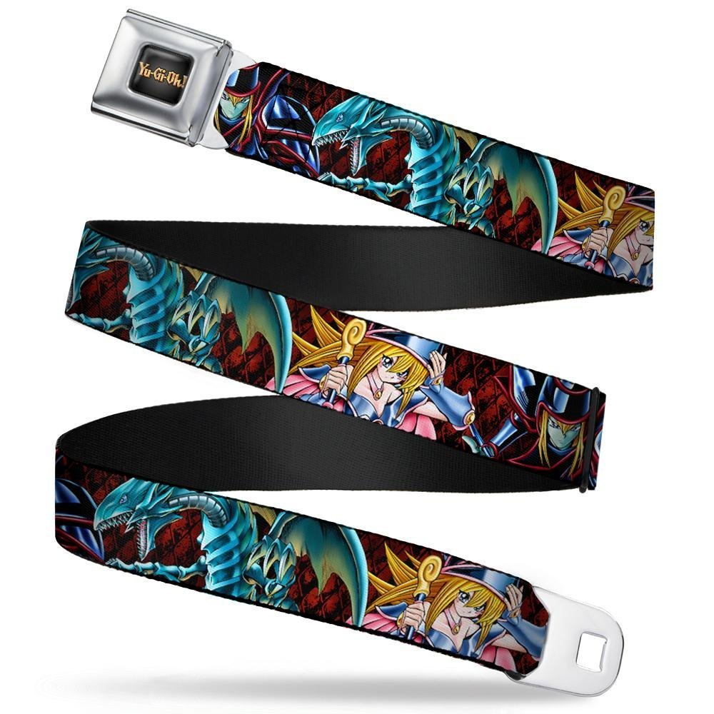 Buckle-Down Seatbelt Belt 24-38 Inches in Length Dark Magician//Blue-Eyes White Dragon//Dark Magician Girl//Diamonds Black//Red 1.5 Wide