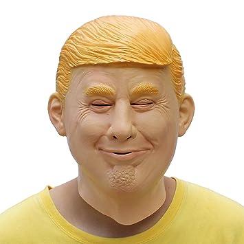 PartyCostume Máscara de Cabeza Humana de Fiesta de Traje Lujo de Halloween de Donald Trump (