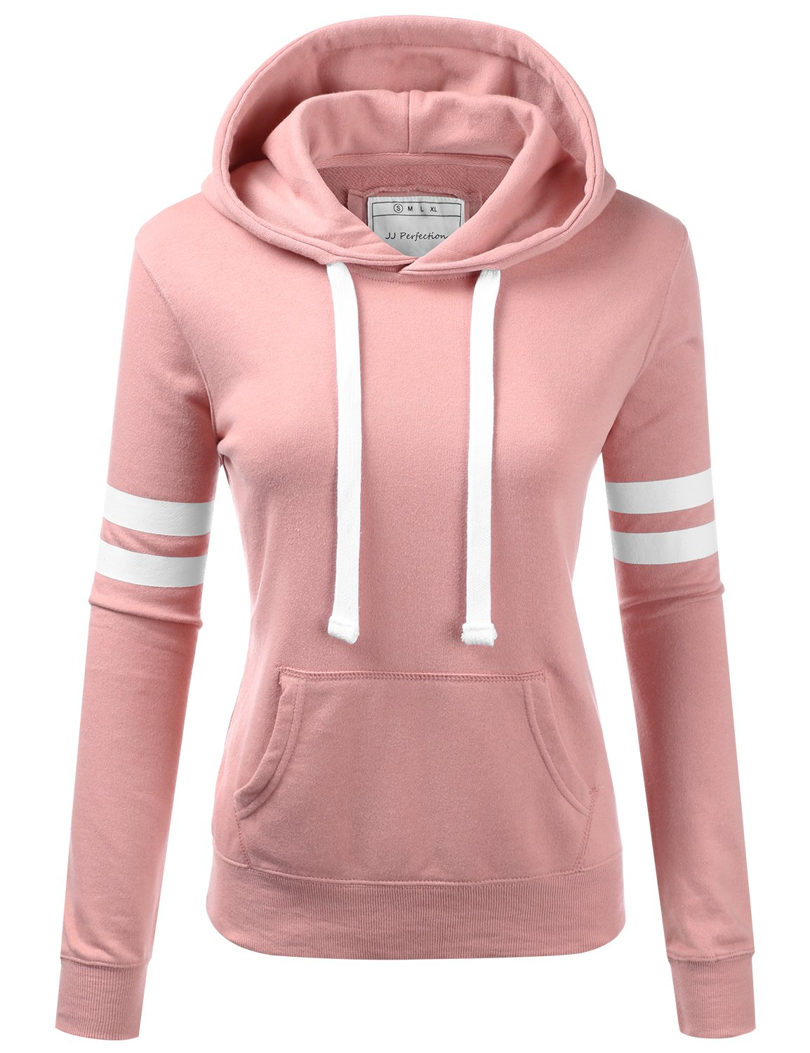 NINEXIS Womens Long Sleeve Terry Hoodie Double Arm Line Pullover Sweatshirts MAUVEPINK XL