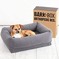 BarkBox Small Gray Orthopedic Bolster Dog Bed with Free Toy; Memory Foam; Pillow Bed with Removable Washable Cover