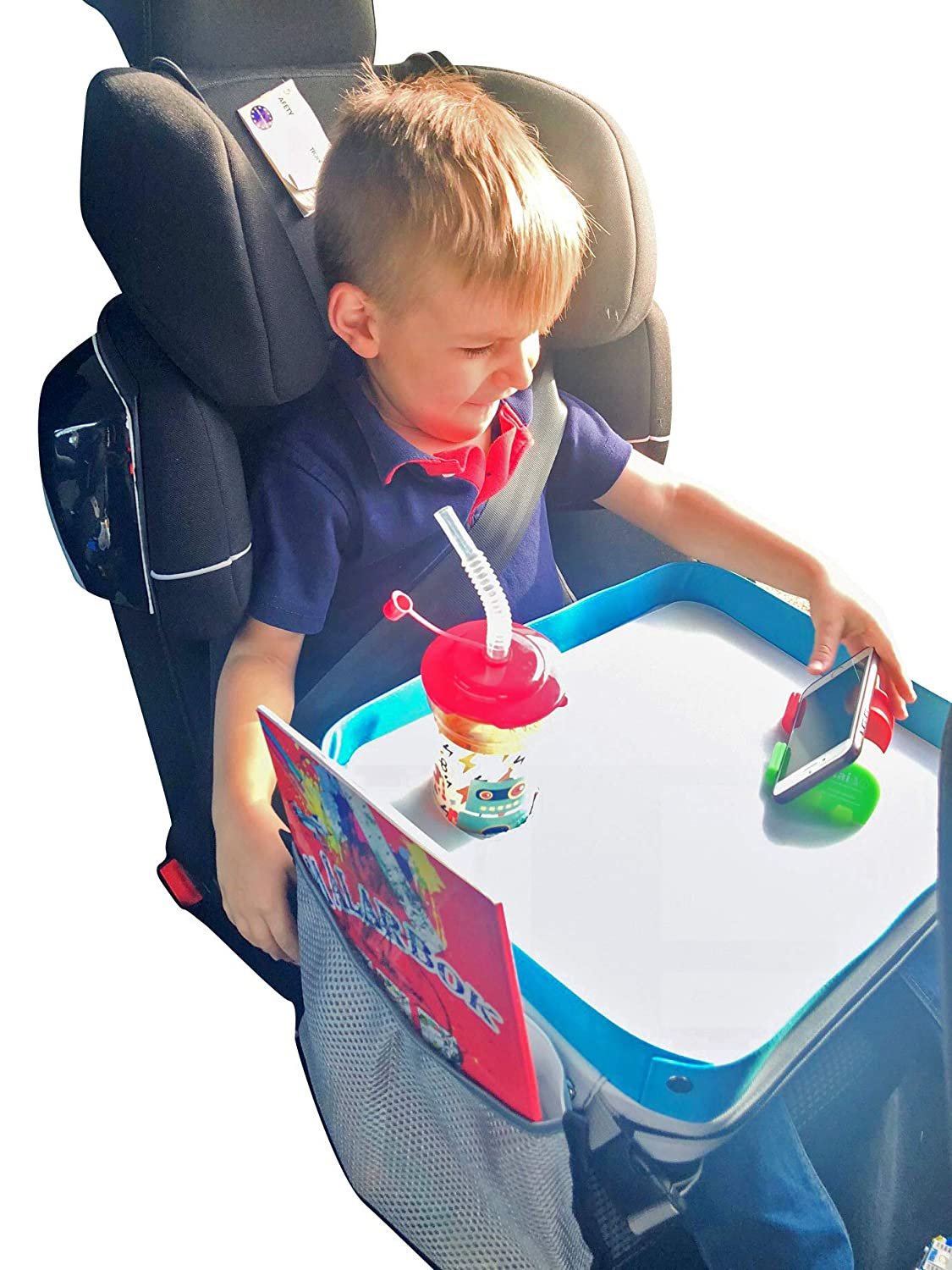 Kids Travel Tray - Car Seat Lap Tray for Children - Toddler Activity Travel Tray & Baby Stroller Snack Tray - Play Table + Free Coloring Book and Phone Holder - Portable & Waterproof KTCPRO