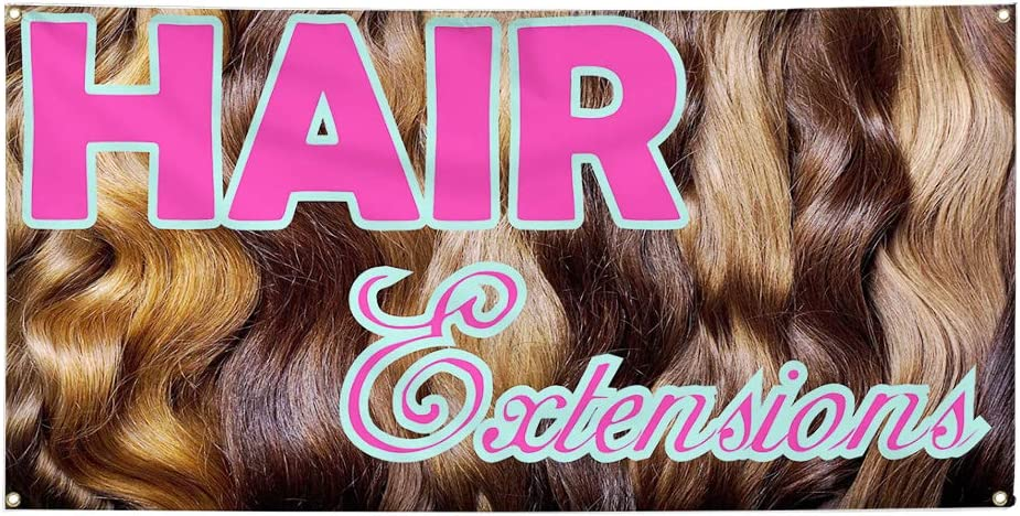 Set of 3 24inx60in Multiple Sizes Available Vinyl Banner Sign Hair Extensions Brown Pink Business Hair Marketing Advertising Brown 4 Grommets
