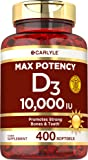 Vitamin D 10000 IU 400 Softgels | Value Size | Max Potency | Promotes Strong Bones and Teeth | Non-GMO, Gluten Free…
