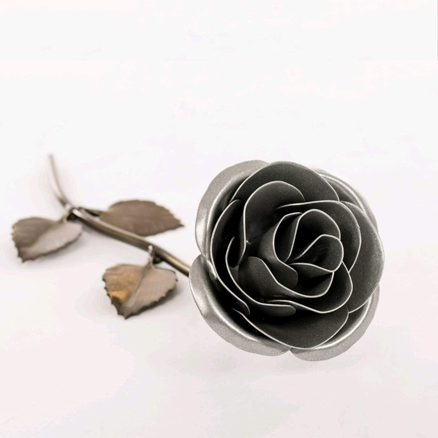 Personalized Gift Hand-Forged Wrought Iron Magenta Metal Rose Valentines Day Gift