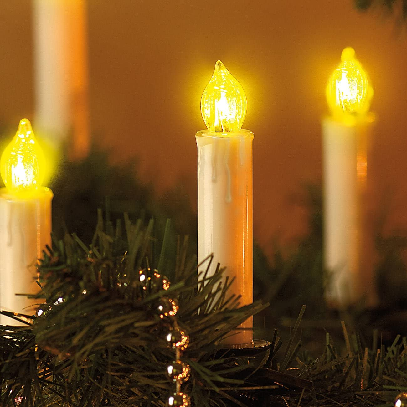 LED-Weihnachtsbaum-Lichterkette mit 20 Kerzen Christbaum Lichterkette LED 3 Watt Lunartec Kerzenlichterkette