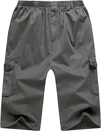 CardanWolf - Pantalones Cortos 3/4 Hombre de Algodón Bermudas Cargo Cintura Elástica Multibolsillos Shorts Leisure Deportes Casual para Verano - Caqui - ES 48-52: Amazon.es: Ropa y accesorios