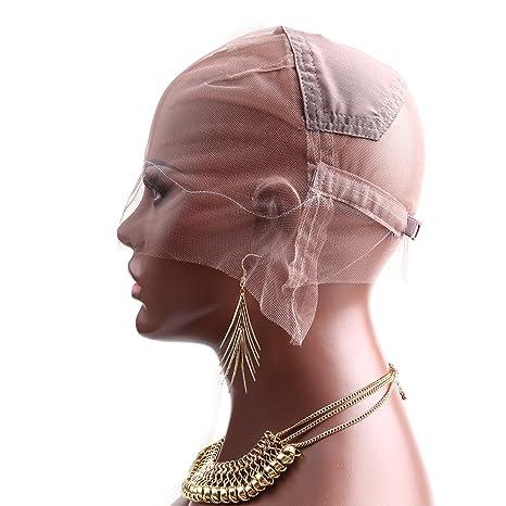 Bella Hair - Tapas de encaje para peluca con panel elástico en la corona para hacer
