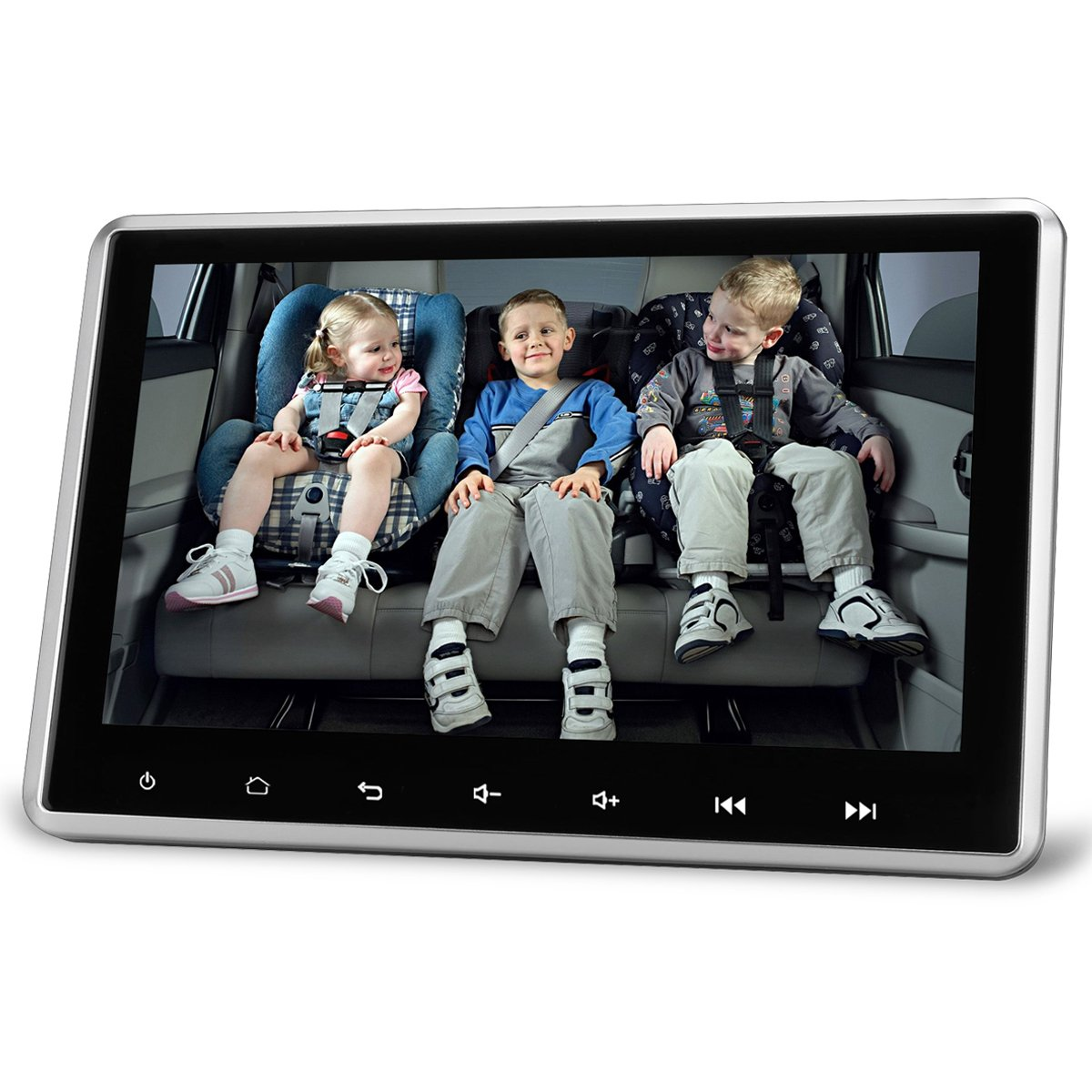 Headrest Video Player Monitor Android 5.1 System For Car 1080P 10.1 Inch Big Capacitive Screen 2 IN 1 Home Use and In Car Use With USB SD Port WIFI Support eRapta EA101 Black by eRapta