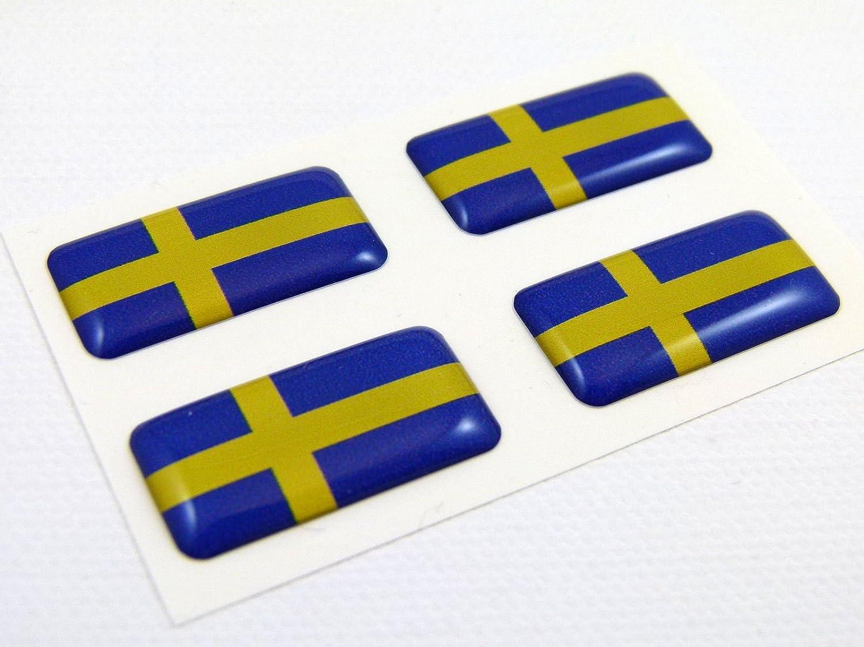 Sweden Swedish Mini Domed Flag Decals 4 Emblems Car auto Bike Boat Stickers Car Chrome Decals