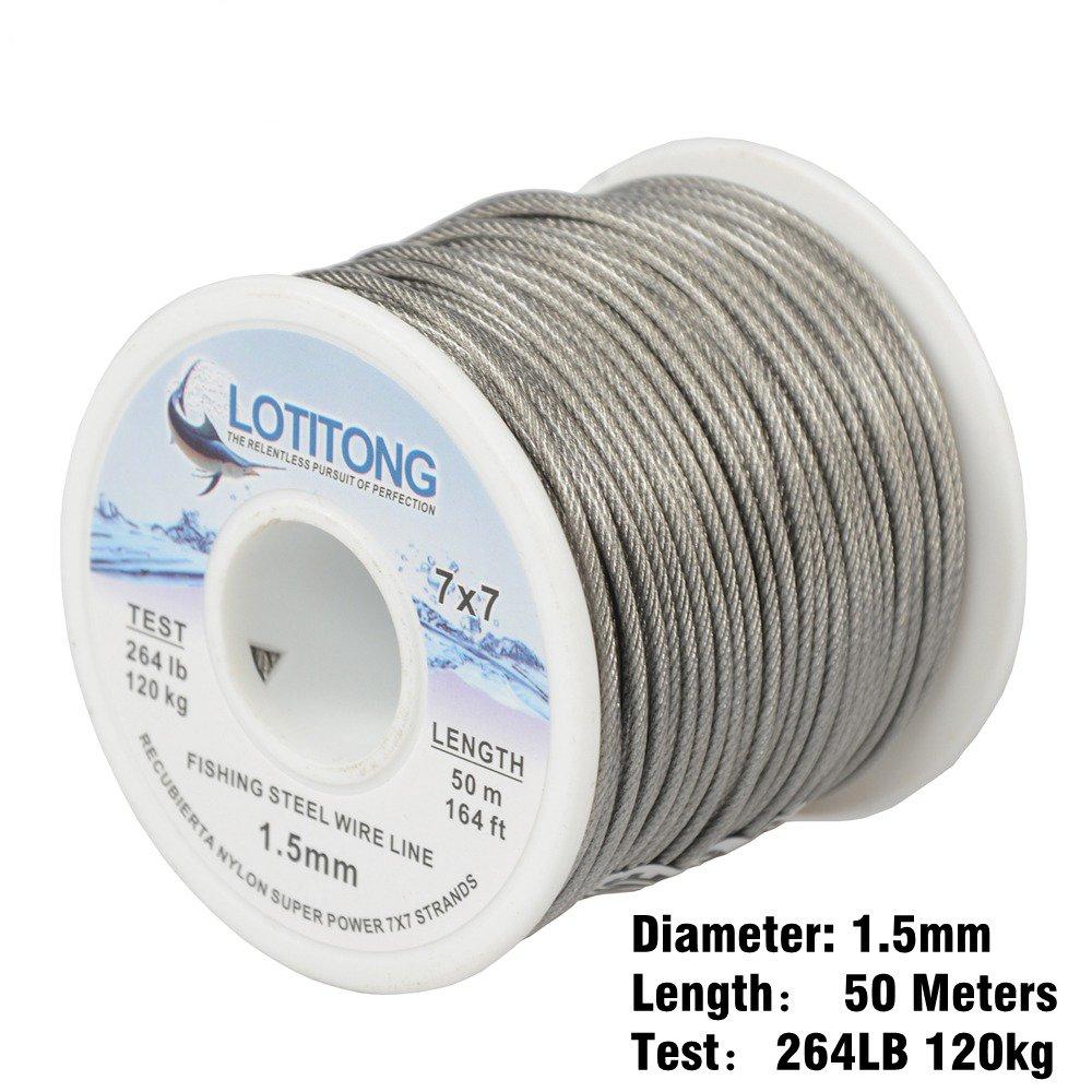 lotitong 50/Meter Angeln Stahl Draht Line 264lb Angeln Draht Nylon beschichtet 7/x 7/49/Edelstahl Leader Draht Fisch Jigs Line 1,5/mm