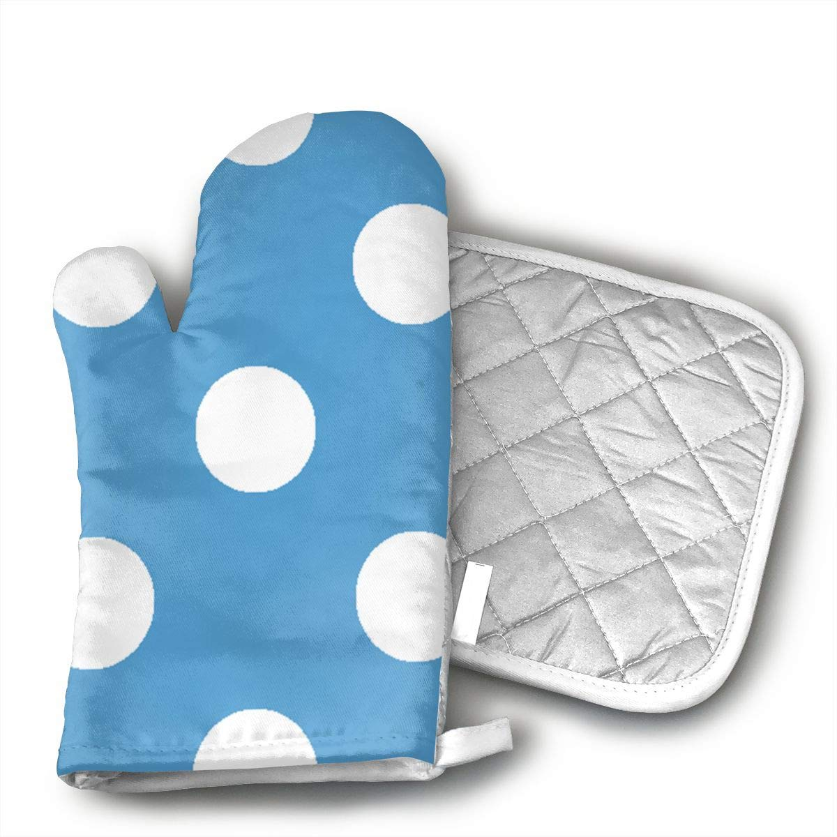 UYRHFS Carolina Blue and White Poka Dots Fabric (3249) Oven Mitts and Pot Holder Kitchen Set with, Heat Resistant, Oven Gloves and Pot Holders 2pcs Set for BBQ Cooking Baking