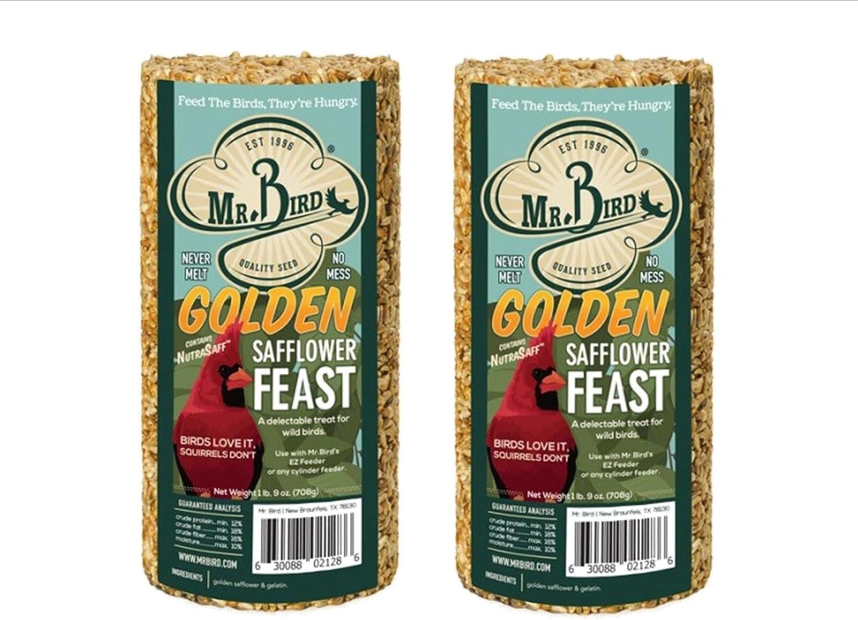 Mr. Bird 2-Pack Golden Safflower Feast Small Wild Bird Seed Cylinder 25 oz.