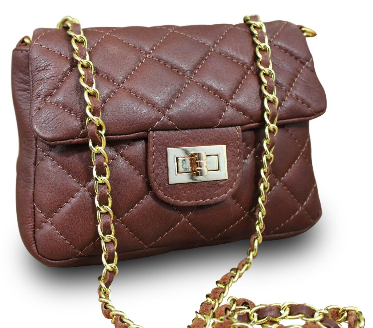 Made In Italy Luxury Party Bag Clutch Nappa Leather Chain Quilted Women's Shoulder Bag Brown