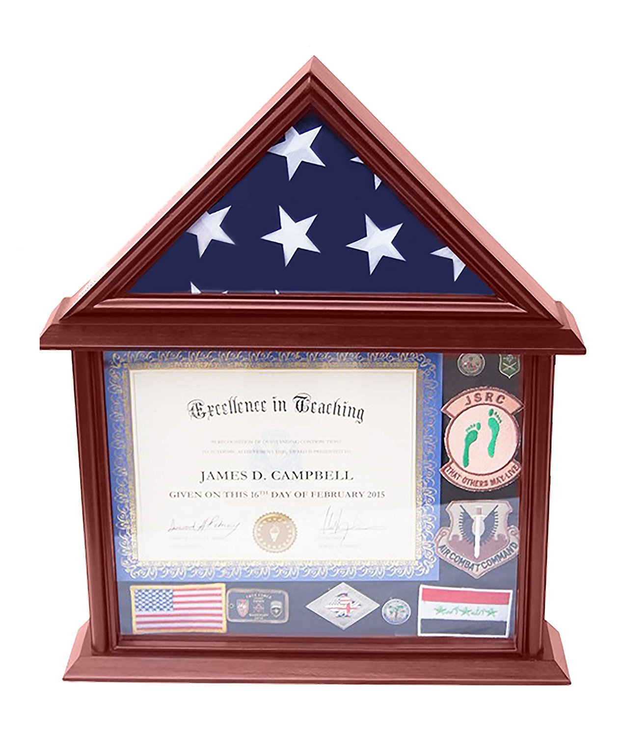 DECOMIL Document &Certificate Holder with 3x5 Flag Display Case, Mango Finish