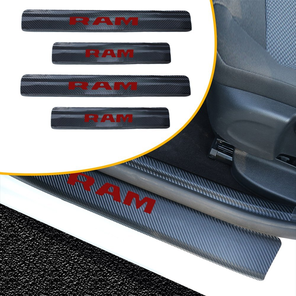 Muchkey 4pcs Vinyl Car Door Sill Guard Protector Film For Dodge RAM Door sill lining Scuff Plate Cover Trims Blue MyHuang