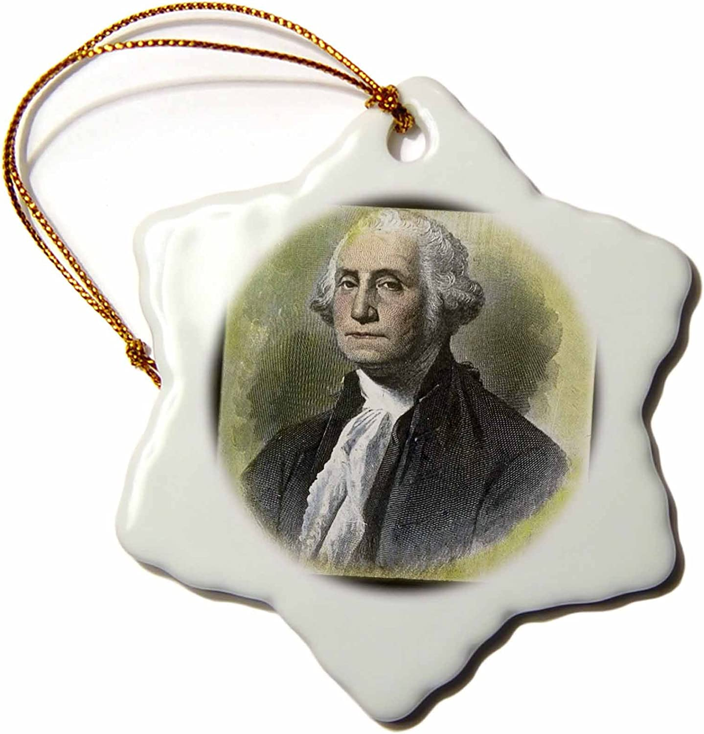 3dRose ORN_77402_1 George Washington by The Victor Animatograph Co-Snowflake Ornament, Porcelain, 3-Inch