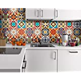 Adesivi per Piastrelle - Confezioni con 48 Piastrelle (10 x 10 cm, Tradizionale Talavera - Piastrelle - Adesivi Cucina - Decorare Piastrelle - Adesivi Pavimento)