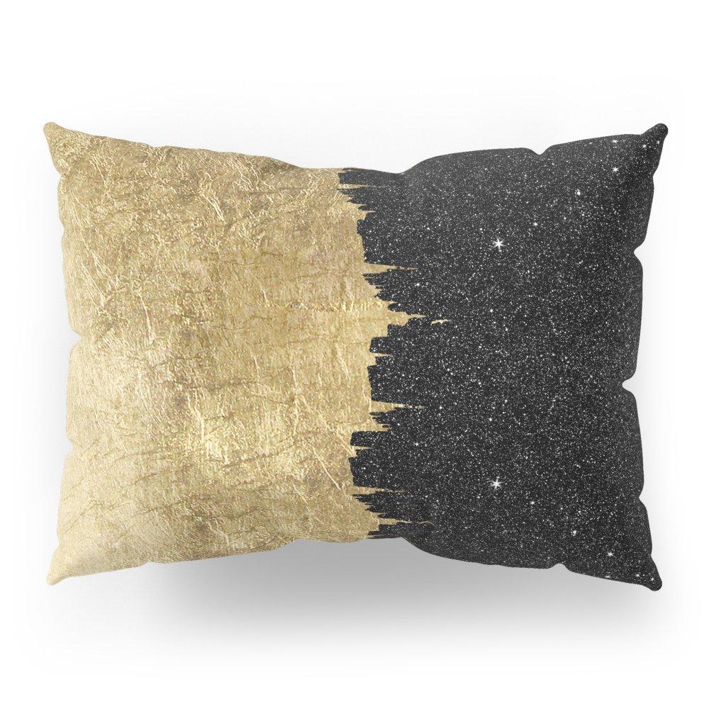 Society6 Faux Gold & Black Starry Night Brushstrokes Pillow Sham Standard (20'' x 26'') Set of 2