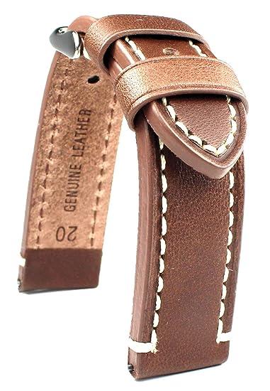 Banda de piel 20 mm banda catal onia Planeador Relojes Retro Strap Brown/marrón