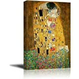 "Wall26 Canvas Print Wall Art - The Kiss by Gustav Klimt Giclee Printed Famous Painting on Stretched Gallery Wrap - 24"" x 36"""