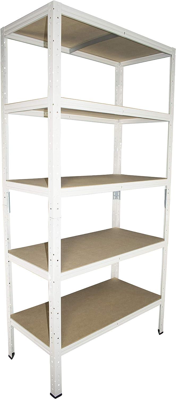 ranuras Estantería 180 x 60 x 60 cm Blanco 5 estantes Sótanos Estantería Estantería metal Stand Sistema Günstig