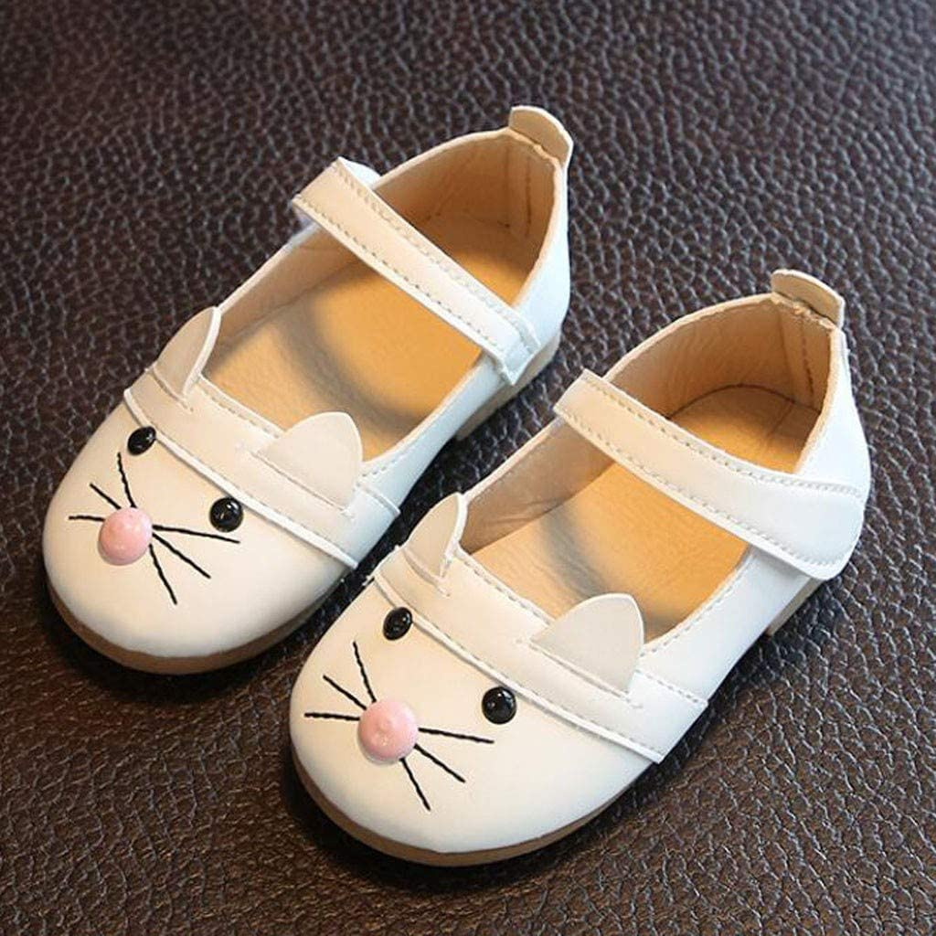 Kids Baby Girl Toddlers Princess Shoes Ulanda-EU Cat Pattern Leather Cute Evening Party Wedding Guest Single Shoes