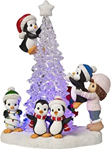 Precious Moments Tree-mendous Fun Girl With Penguins LED Lighted Resin/Acrylic Tabletop Christmas Tree Figurine 171413