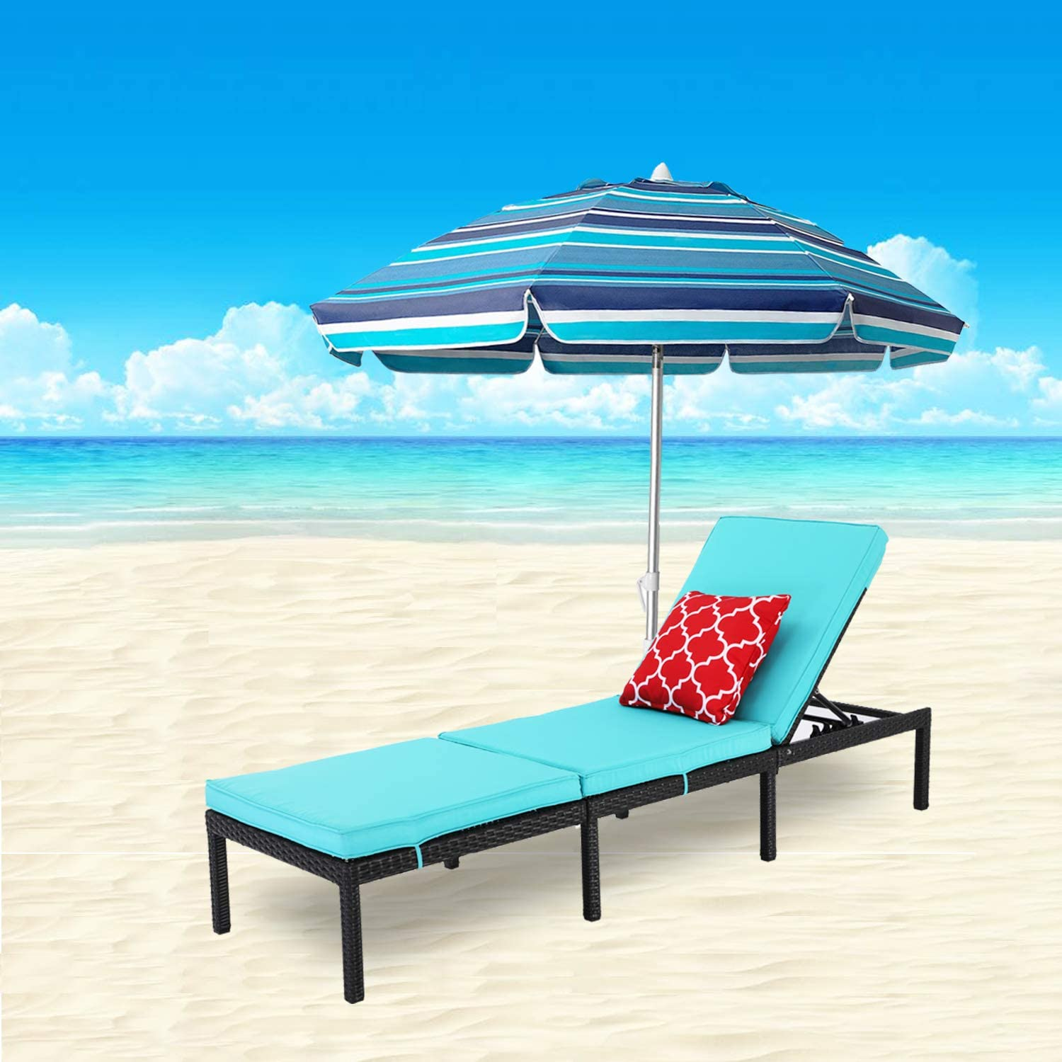 Do4U Outdoor Patio Chaise Lounge Chair- Adjustable Pool Lounge Chair Patio Furniture Wicker Couch Bed with Turquoise Thick Cushion | Expresso Rattan & PE Wicker | Steel Frame (Turquoise)
