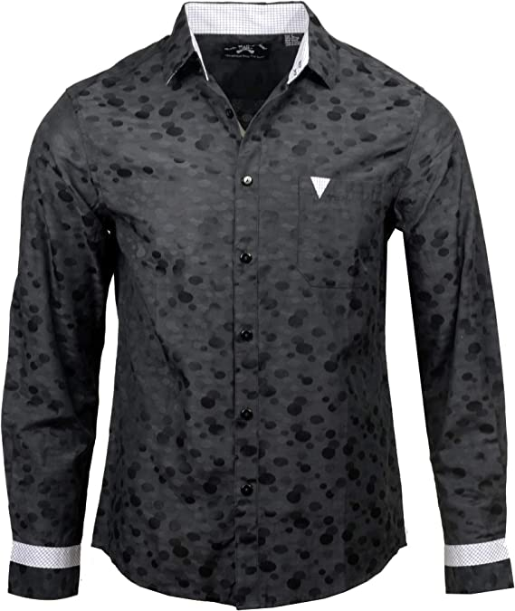 Mens Love Hate Embroidered Long Sleeve Button Down Black Shirt 707B