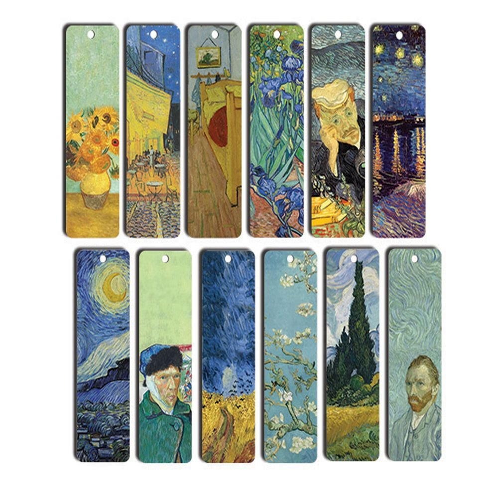 Van Gogh Bookmarks (12-Pack) - Starry Night - Sunflowers - Irises - Art Paintings Bookmarker - Cool Bookmarker for Men and Women - Best Quality Stocking Stuffers Creanoso