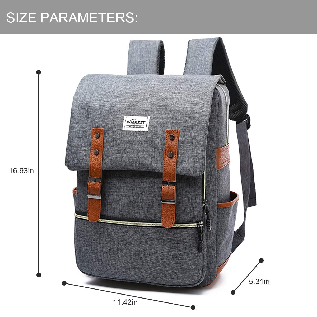Amazon.com: 15In Vintage Laptop Backpack Canvas College Backpack School Bag Fits 15inch Laptop by Puersit(Gray): Computers & Accessories