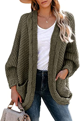 imesrun Womens Open Front Cardigans Long Sleeve Chunky Knit Fall Button Down Sweater Coats with Pockets