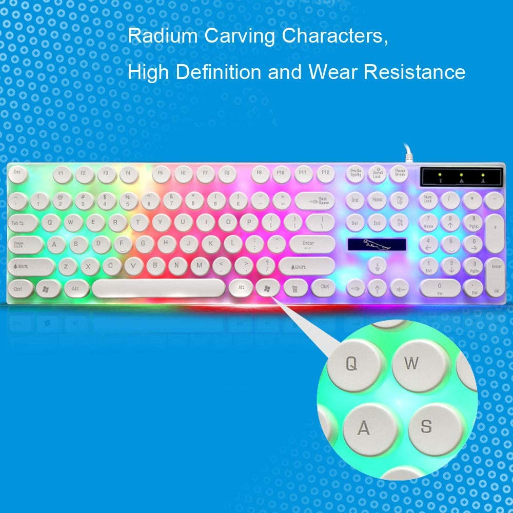 with Backlit Round 104 Keys Wired Keyboard and Mouse Combo for PC//Desktop//Computer and 1600 DPI