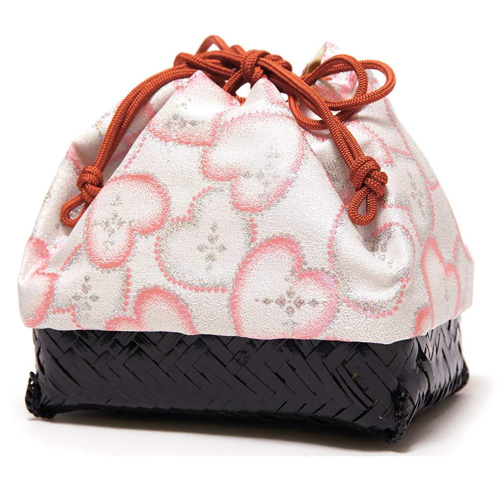 [でぃあじゃぱん] 花しおり 籠巾着 かごバッグ 日本製 籠バッグ  4.銀にハート×黒籠 B07PGYVWK2