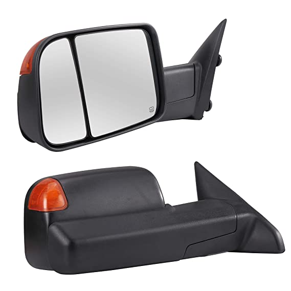 SCITOO fit Dodge Ram Towing Mirrors High Perfitmance Automotive Exterior Mirrors fit 2009-2017 Ram 1500 2500 3500 with Power Adjusted Heated Manual Flipping up and Folding Features
