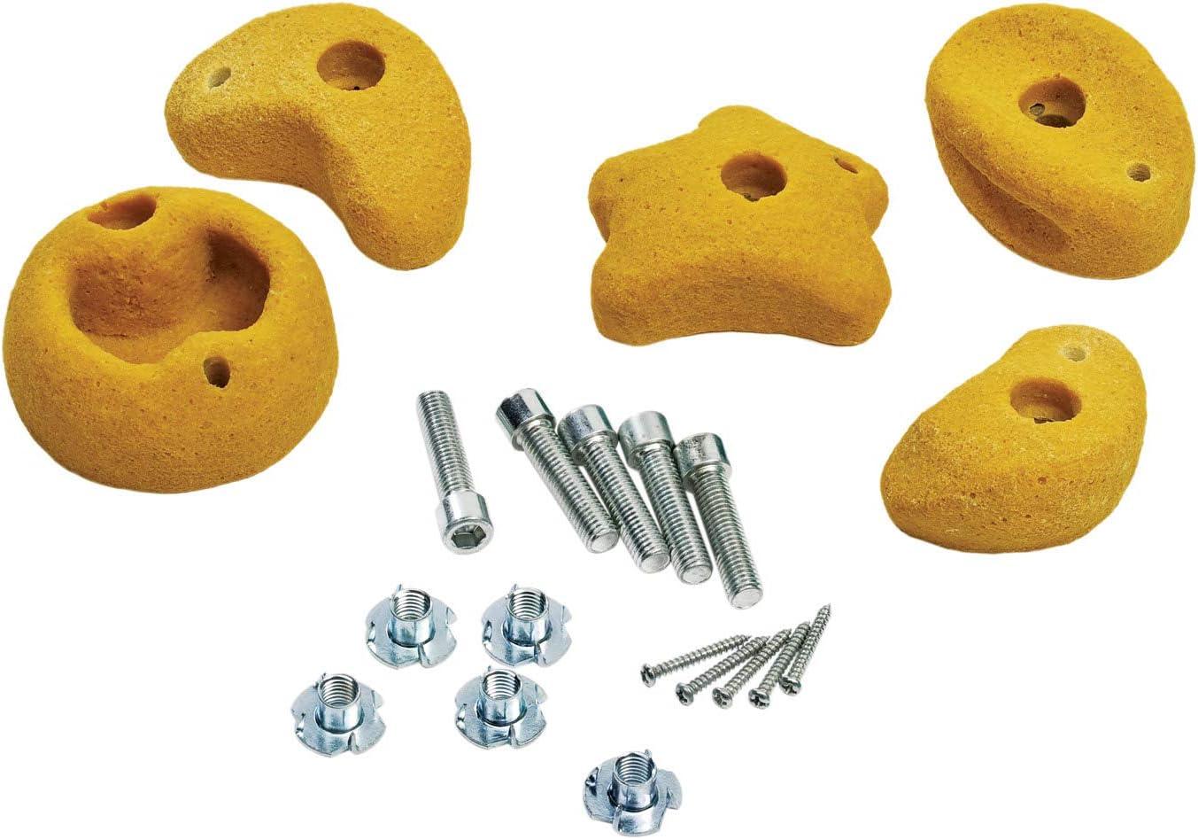 Gartenpirat Set de 5 presas de Escalada Amarillas tamaño pequeño con Tornillo y Tuerca