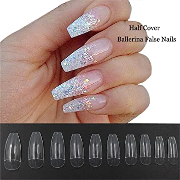 500 Pcs Coffin Nails Half Cover Ballerina Nail Tips False Artificial Acrylic Nails (Half Clear) by Joof Eric