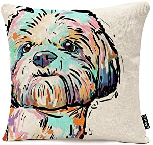 Colorful Art Cartoon Dog Waist Throw Cushion Cover Cotton Linen Pillow Case Home Sofa Decor Pillow Case Cushion 18 x 18 Inch