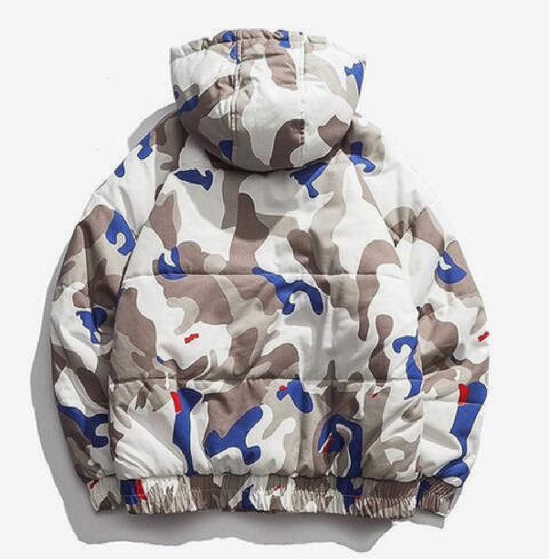 Winwinus Men Hooded Full-Zip Camouflage Causal Quilted Parka Jacket Coat
