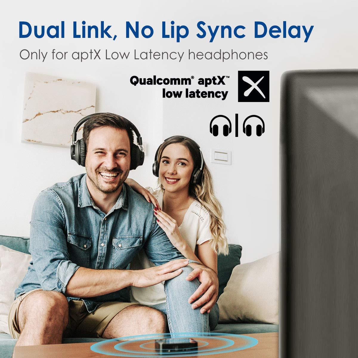 ... baja latencia aptX para 2 auriculares, RCA, adaptador de audio emisor inalámbrico de 3,5 mm, indicadores LED: Amazon.es: Electrónica