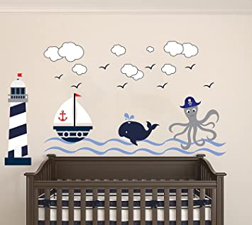 Nautical Theme   The Wonderful Sea World Sailor Childrenu0027s Room Kids Room  Baby Nursery Playroom Wall